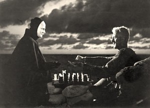 "The unforgettable scene from Ingmar Bergman's ""The Seventh Seal"": the knight plays a chess game with Death"